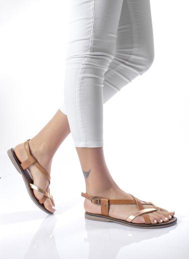 MODAGON Hakiki Deri Sandalet Terlik Taba